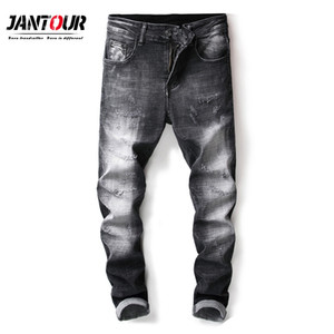jantour 2018 New Mens marque jeans Mode Hommes Casual fit Straight High Stretch Feet skinny jeans hommes noir vente chaude pantalon masculin