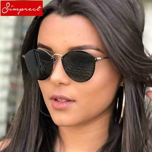 SIMPRECT Retro Yuvarlak Güneş Kadınlar 2018 Yüksek Kaliteli Metal Ayna Güneş Gözlükleri Vintage Lunette De Soleil Femme