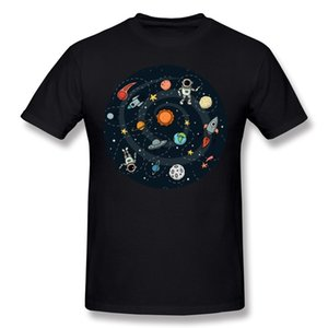 Latest Adult 100% Cotton Space Tee-Shirts Adult O-Neck Gray Short Sleeve T-Shirt Plus Size Casual Tee-Shirts
