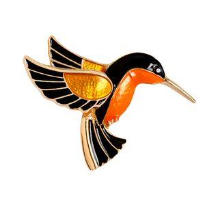 Bunte Glasur Flying Birdie Rot-gekrönter Kran Flamingo Metall Vogel Brosche Pins Kleid Jacke Pin Badge Geschenk Schmuck