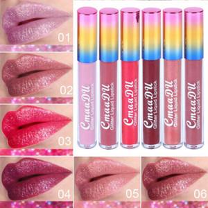 Cmaadu Glitter Virar Lip Gloss Velvet Matte Lip Tint impermeável de Longa Duração de diamante de flash Shimmer líquido Batom 6 cores