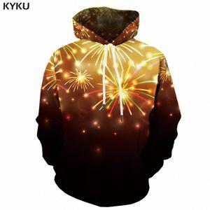KYKU Christmas Hoodie Men 3d Sweaters Xmas  Hoodies Fireworks Print Anime Sweatshirt Party Mens Clothing Pullover New