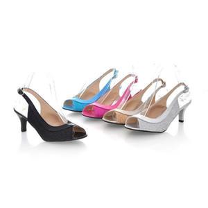 Vente chaude D'été Nouveau Style Sexy Moyen Talons Stiletto Peep Toe Sandales Slingback Métallique Boucle En Cuir Chaussures Euro Taille 34-43 or / argent