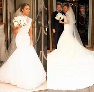 Vestidos de novia de sirena de encaje de cuello alto vintage 2019 Iglesia Romántico blanco Apliques Mangas largas Vestidos de novia con pliegues largos Formal