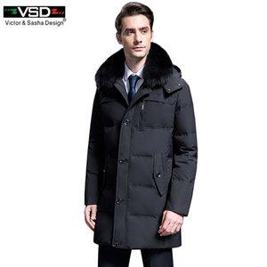 VSD 90% White Duck Down Chaquetas Calidad guapo Cálido largo de moda de negocios de invierno de los hombres ropa Casual Parkas Park VS8788