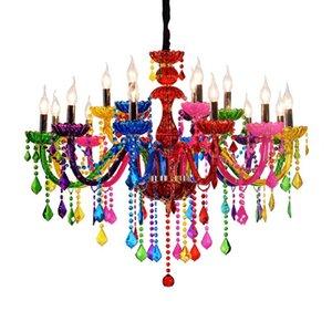 Colorful Crystal Chandelier Bar Candle Crystal Lamp European Engineering Lamp Cafe Chandelier lampadari