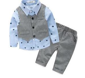 2017 Printemps bébé garçon gentleman costume chemise + salopette 2pcs manches longues T-shirt garçons pantalons enfants vêtements enfants ensemble de vêtements
