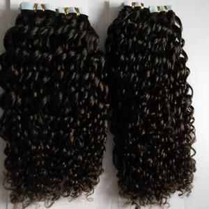 Монгольский кудрявый вьющиеся ленты в наращивание волос 200 г афро кудрявый вьющиеся волосы Реми на клейкой ленте PU кожи утка невидимый 80 шт.