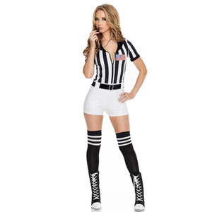Sexy Stripes Women Model Short Sleeves Race Car Driver DJ Costume With Fashion Uniform Halloween Party Wearing
