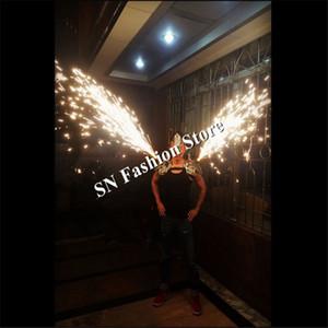 AS86 Серебряный танец бар плечо носит певица холодный фейерверк одежда партии DJ дискотека бальный зеркало светодиодные костюмы поставок производительности
