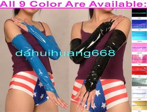 Sexy 9 Couleur Brillant PVC Longs Gants Sexy Femmes PVC Gants Sexy Longs Gants Halloween Partie Fantaisie Robe Cosplay Costumes DH237