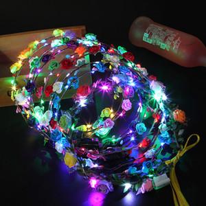 도매 프로 모션 다채로운 사용자 정의 LED 반짝이 장미 하와이 글로우 화 환 파티 분위기 화 환 적 열하는 화 환 헤드 기어