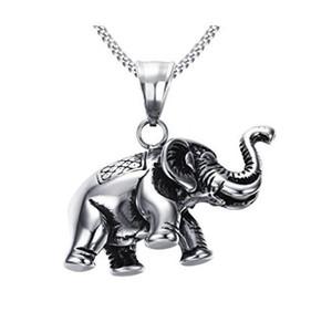 Edelstahl-viel Glück-Tier-Weinlese-Elefant-hängende Halskette, freie Kette