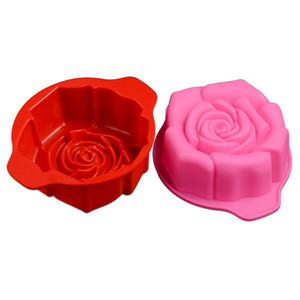 15.5 * 12.7 * 5cm Silicone Mold 3D Rose Flower Fondant Cake Chocolate Sugarcraft Mold Decorating Tools DIY Random Color JSC1809