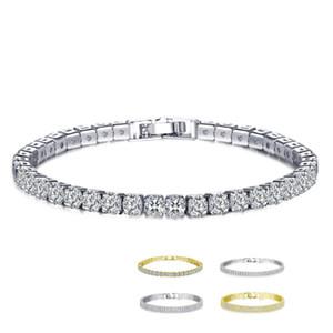 Monili 18K Bianco / Giallo placcato oro scintillante cubico zircone CZ Cluster-pong delle donne di modo del braccialetto per la festa nuziale