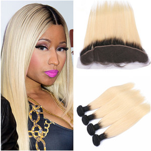 # 1B / 613 Blonde Ombre Full Lace Frontal Chiusura 13x4 con Bundles Straight Blonde Ombre Virgin Indian Hair 4 Offerte Bundle con Frontal