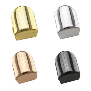 2018 HIP HOP Single Metall Gold Farbe Zahn Kappe Schmuck Glossy Einfache Grillz Frauen Fashion Dental Grills Zubehör Wholesale Freies Verschiffen