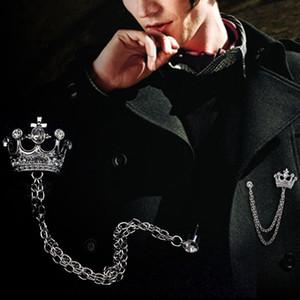 Broche de la corona de alto grado de las mujeres de los hombres broche de las cadenas de traje de viento británica chapas Pin retro Rhinestones Boutonniere venta caliente