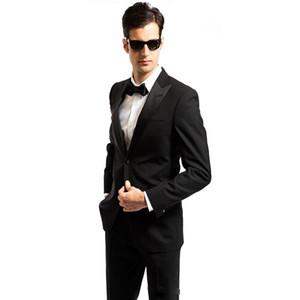 (Coat + Pants) Personalizar Smoking terno masculino slim fit Mens Formal Black Wedding Suits Tuxedo World DHL Envío gratis