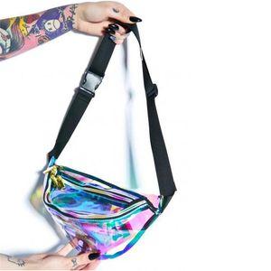 Venda quente Holográfica Pacote Engraçado Laser Bum Bag para Homens Mulheres Cinto Saco Da Cintura Holograma Bolsa Moda Cintura Telefone Bolsa Moda Street Wears