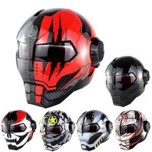 Зоман Черный IRONMAN Железный Человек Шлем мотоциклетный шлем мотоцикл Capacetes Каско ретро Casque Мотокросс шлем