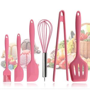 Розовая силиконовая посуда наборы 6 шт. Яйцо колотушка ложка клип шпатель масляная щетка кухонные принадлежности 6 платья кухонные инструменты Y18110204