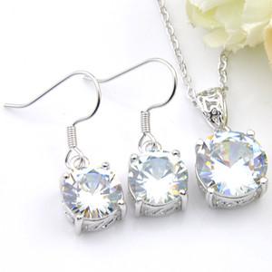 Luckyshine regalo di natale earrigns Pendenti Imposta rotonda Topaz bianco gemme Argento 925 collane delle donne zircone insiemi dei monili di trasporto