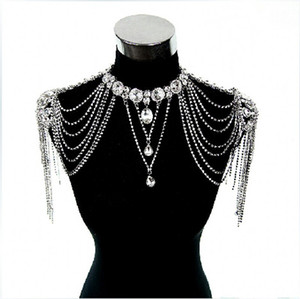 Spring 2019 New Style Bridal Shoulder Chain Real Photos Sparkly Rhinestones Wedding Shoulder Chain Jewelry Necklace in Stock