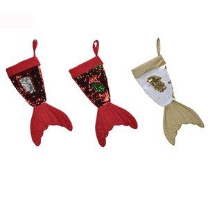 Christmas Stockings Gift Bag Holders Sequins Mermaid Tail Kids Candy Bag Noel Decoration Xmas Tree Ornaments