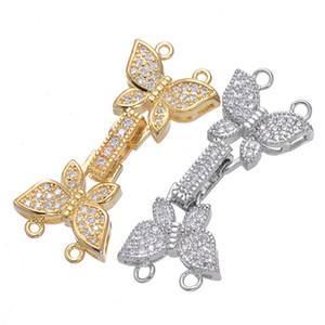 Handgefertigte diy schmuck zubehör micro pave cz stein zirkon schmetterling haken schnallen für 2 reihen halskette armband erkenntnisse charme passen