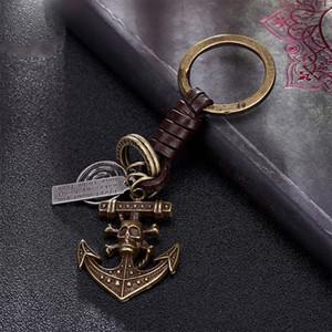 Venda quente do vintage bronze encantos do leme chaveiro 2018 New punk do pirata decoração saco de esqueleto para chave do carro anel de jóias acessórios