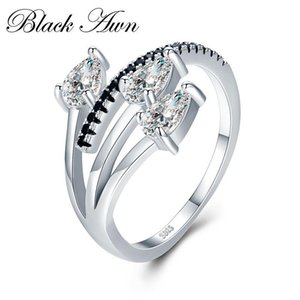 Romantic 3.4g 925 Sterling Silver Fine Jewelry Baguet Row Engagement Black Spinel Wedding Rings for Women G007 Y18102510