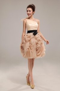 2018 only one left champagne short Cocktail Prom Dresses Rachel Allan one-shoulder Organza ball Gowns Short Homecoming Dress