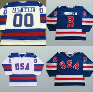 Personalizado 1980 Equipe EUA Hóquei Jerseys 3 Ken Morrow 16 Marca Pavelich 20 Bob Suter Homens Costurados EUA Vintage Hóquei Uniformes Azul Branco