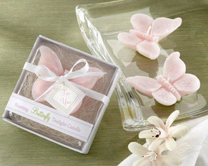 Hot sell 2018 New fashion Pink Butterfly Candle Wedding Favors Gift Party Baby Shower Candle Gift