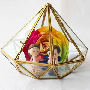 17 * 14 CM Miniatura de Cristal de Terrario Diamante Geométrico Jardín de Escritorio Jardinera Plantas Suculentas Casa de Cristal de Jardinería Decoración Del Hogar WX9-676
