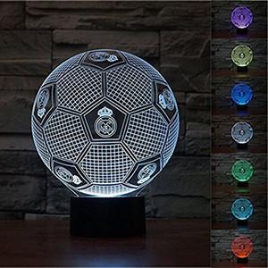 3d real madrid 3d futebol led usb luz da noite 7 mudança de cor led candeeiro de mesa de natal presente de natal
