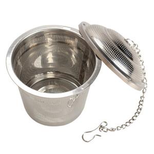 Durável 3 Tamanhos Prata Reutilizável 304 Malha Inoxidável Bola De Ervas Tea Coador Teakettle Locking Chá Filtro Infusor