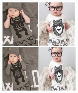 Baby INS fox stripe lettera Si adatta ai bambini Toddler Infant Casual Breve manica lunga T-shirt + pantaloni 2 pz set pigiama vestiti appena nati Y179