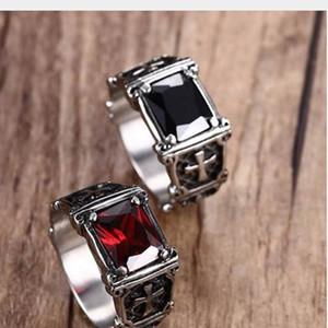 Mprainbow para hombre de la vendimia anillos de acero inoxidable rojo grande de cristal garra del dragón cruz anillo banda gótico Biker Knight Punk joyería