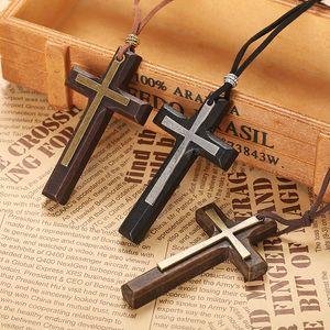 Топ Моды ретро ремесла двойной слой сплава деревянный крест женская пара длинный кулон свитер цепи крест продвижение на складе