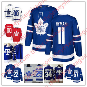 Toronto Maple Leafs 2018 # 11 Zach Hyman 20 Dominic Moore 22 Nikita Zaitsev 55 Andreas Borgman Weiß Royal Blue Genähte Hockey Trikots S-60