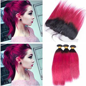 1B/Hot Pink Ombre Virgin бразильский человеческих волос расслоения сделок с кружева фронтальная закрытие 13x4 два тона Ombre розовый волос ткет с Frontals