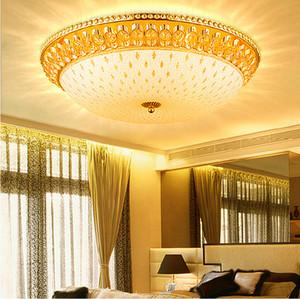 미국의 현대 크리스탈 천장 램프 골드 크리스탈 천장 조명기구 유럽 낭만적 인 라운드 침대 거실 홈 실내 조명