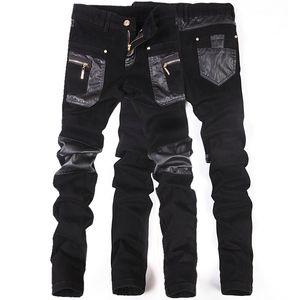 Outono e inverno calças slim calças masculinas coreano apertadas calças de emagrecimento luta boate calças de couro dos homens