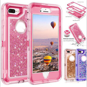 Bling crystal defender cover case Liquid glitter waterproof shockproof phone case For iPhone X Samsung S9