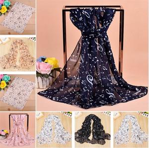3 cores novo estilo lenços chiffon mulheres notas musicais felizes cachecol de alta qualidade impressa lenço Mulheres Xaile garoto lenços T5C039