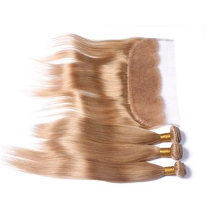 Honey Blonde 3 Bundle Deals with Full Frontals Straight #27 Brazilian Strawberry Blonde Human Hair Weaves with 13x4 Lace Frontal Closure