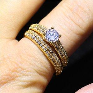 Neue Ankunft Goldene Farbe Frauen Handgemachte Modeschmuck Ring Set 1.5Ct Zirkonia Hochzeit Diamant Ring Set Für Braut Size5-10