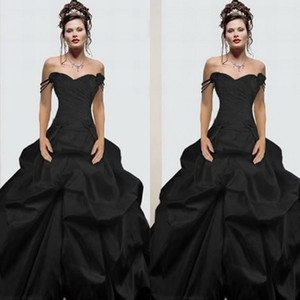 Classique 2018 Noir gothique robes de mariée bretelles spaghetti ligne A froncé Cour Jupe train Vintage Robes de mariée